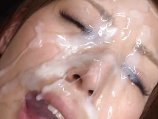 white pale face covered with semen