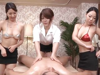 These three beautiful asian milfs in nature's garb in front of me and gave me a sensual oily massage. While I was busy groping the mangos of 2 of 'em the 3rd one took care of my dick and frankly it felt heavenly. Now my nipples are getting sucked and maybe my unshaved dick will receive the same thing too.