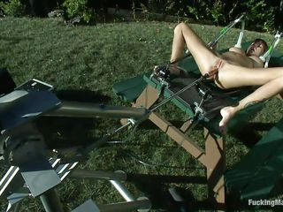 Take a moment and enjoy watching this! Ashlynn, a large boobs honey lays on a table outdoors and a fucking machine makes her moan with pleasure as the dildo slowly permeates her vagina between those long sexy spread legs. The suckers on her teats are pumping and she wants more, putting on of the suckers on her clitoris.
