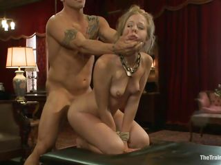 The bald guy stuffs this blonde cutie with his large hard dick. His cock fills her anus and then her mouth and she sucks it in a very sexy manner, looking up during the time that wrapping her pink juicy lips around that shaved penis. She's pretty and slutty, wouldn't u just love to watch her face overspread with a large load of sexy semen?