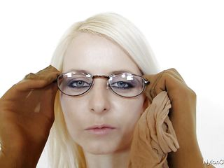 sexy blond with dorky glasses masturbates covered in nylon