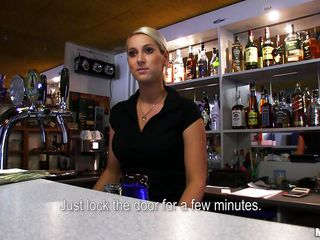 hot blond bartender giving head
