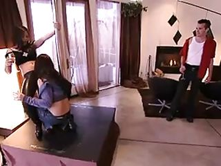 These horny guys and babes are in that 'Foursome Lock' mansion and the ghost of group sex is trying to get into them! Watch how this babes got naked and doing naughty lesbo moves. And in a short time the guys join them. Then they begin kissing, licking pussies or sucking cocks before one babe takes out a dildo toy!