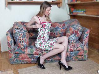 teen golden-haired pleasures herself