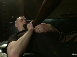dominating black tgirl fucking her white sex slave