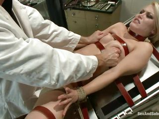 It's a hard exam for Ash's pussy, she's tied with red leather straps on the gynecologist table and her doc performs a hard fisting in advance of taking out his cock and fuck her deep. This babe groans with joy as his hand goes unfathomable in her womb and then his penis, wonder if he will cum in her delicious vagina?