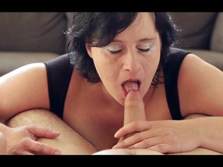 This mature bitch with very large round boobs is sucking a male erectile penis and licking his balls while he is shooting her with a camera. She is a pro because the guy is feeling how the orgasm is close. The floozy take his cock and puts it betwixt her boobs so the guy is having a great tits fucking.