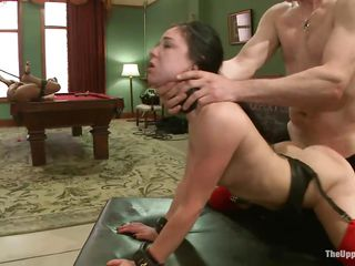 Hawt slut Nikky is bound up with her legs spread and is waiting for some extreme joy on a billiard table. Nikki watches how Juliette acquires strangulated and drilled at the same time. Then, that babe acquires her pussy spanked for being such a nasty girl. It`s time for her to be drilled and to take up with the tongue Juliette`s soaked cunt