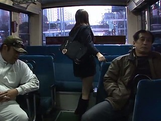 Legal Age Teenager Japanese school gal with big boobs in uniform Yayoi Yoshino acquires her shaved slit licked and stimulated by sex toys in a gang bang session with lots of turned on aged guys in the school bus during the time that this babe's manacled to the holding bar moaning