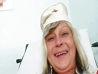 Nasty nurse mom id like to fuck Nada copulates herself jointly with big rubber toy