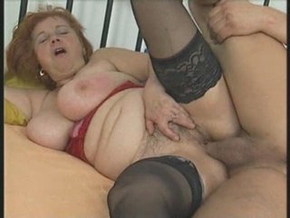 Busty Chubby Aged in Stockings Sucks and Fucks