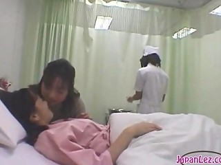 Patient Kissing With Her Girlfriend Getting Her Body Washed Mounds Rubbed By The Nurse On The Bed In The Hospital