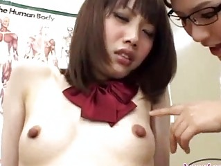 Schoolgirl With Small Billibongs Getting Her Nipples Sucked By The Doctor On The Sofa In The Surgery