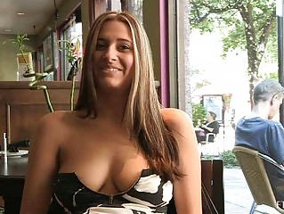 Patricia sexy milf with sunglasses flashing tits in public and buying banana