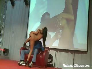Hot stripper dancing and fingering her fur pie