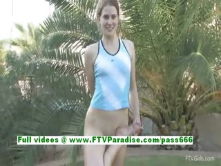 Emilie angelic teenage dark brown gymnast works out bare in the great outdoor