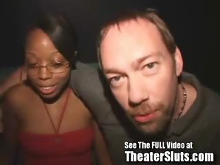 A 19 year old sweet chocolate slut kim has not ever been to a porn theater before