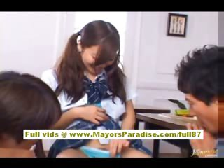 Miyu Hoshino asian schoolgirl enjoys getting cum-hole fingered
