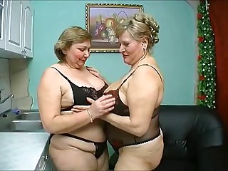 two old chubby older have wild sex in dark lingerie