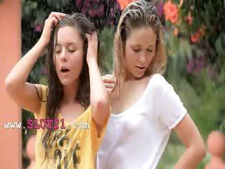 Beautiful babysitters in the rain