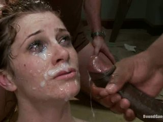 Cici Rhodes is black guy's white lady boss. They hate her and punish her with their massive hard dicks. Naked lady with tied hands gets her holes attacked by black worms in advance of they cover her nice face in sperm.
