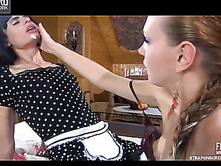 Dressed like a maid sissy licks a ding-dong and receives fucked by his domme