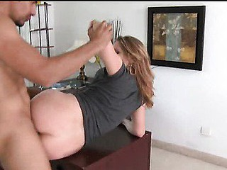 Evelin gets her cum-hole pounded from behind  bent over  on top of the auditions desk.