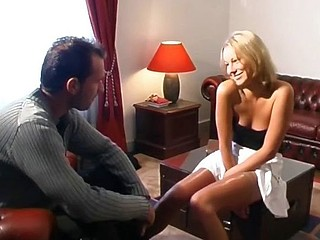 Hawt blonde gal can't decide which cock to suck and fuck so she does them both