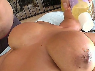 Lisa Ann becomes lewd before massage of her big boobs and licking of her trimmed pussy