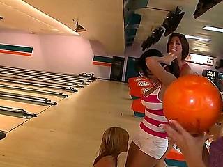 Amazing teens bowling featuring Alexis Fawx, Anastasia Morna, Brandy Aniston, Diamond Kitty