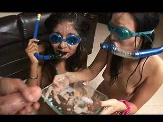 Ashli & Ruby get cum drenched!