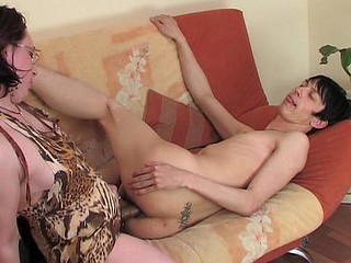 Salacious girl puts to work her strap-on fucking the shit out of a horny guy