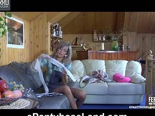 Nora wearing pantyhose on clip