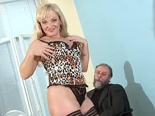 Platinum blond grandma rides a thick penis
