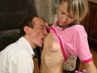 Cute skinny golden-haired rides her horny teacher like a stoat.