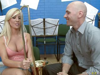 Tasha Reign is in music class, and the teacher is trying to acquire her excited about playing slip trombone in band. That babe knows how to lube the slip and blow and everything else. That babe demonstrates and makes it more interesting by using her tits. Then she goes after his cock.