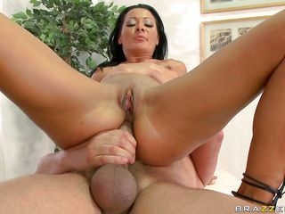Sandra Romain is riding a thick stick in reverse, first having her pussy stuffed, then having her butt filled. That babe receives every inch of the meatstick in her back door, sometimes fingering her snatch while she does. After a while, it's time to suck, deepthroating the cock. Don't think that would taste good.