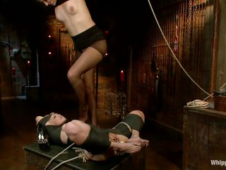 tied blonde milf dominated and face fucked by her mistresse
