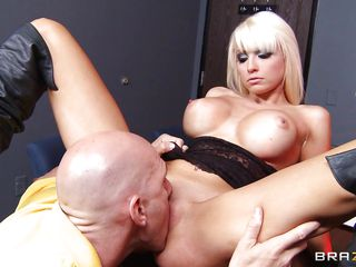 baldie squeezes blonde's biggest fake tits