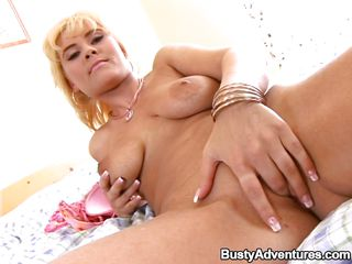 She's golden-haired and horny, luckily for her snatch that babe has the perfect tool to satisfy herself, a pink dildo. After rubbing her vagina for a during the time that that babe bends over so we can see her alluring gazoo and inserts her dildo in her shaved cunt, fucking herself nice and slow. Why hurry when that babe knows that we are watching her.