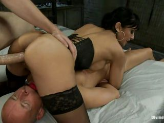 The bald man is in big trouble and this man likes it a lot! A brunette milf with big breasts, shaved vagina and sexy ass is dominating him and receives a guy's cock in her pussy at the same time. She enjoys being between two hard dicks and loves to be screwed whilst she sits on some other man. Will she receive sperm from both of them?