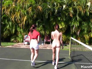 naughty legal age teenagers having fun on the tenis field