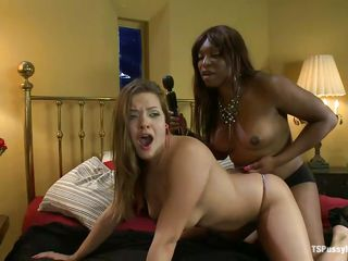 ebony ladyboy and white chick in bed