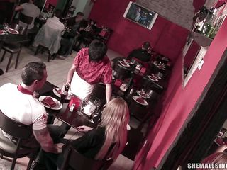 golden-haired tranny is sucking a dick in a restaurant
