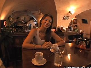 Brunette at bar talks about sex for cash cash