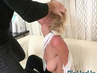 Sexy short hair blonde get ripped in her shaved vagina