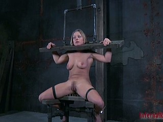 Gagged and clamped slut gets torment