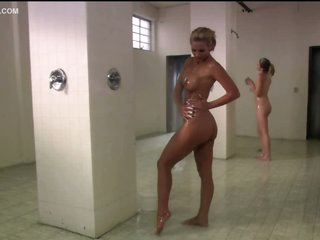Breathtaking Maxine Taylor Touching Phoenix Marie's Large Jugs In The Shower