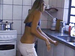 Sexy Blonde Using Both Holes