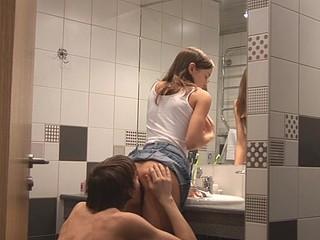 Kinky Ivana Fukalot with upskirt is having fuck in the bath